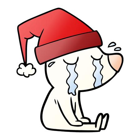 cartoon crying sitting polar bear