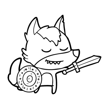 friendly cartoon wolf viking Illustration