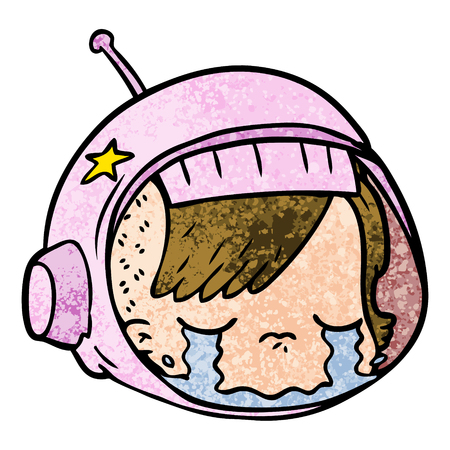 cartoon astronaut gezicht huilen Stock Illustratie
