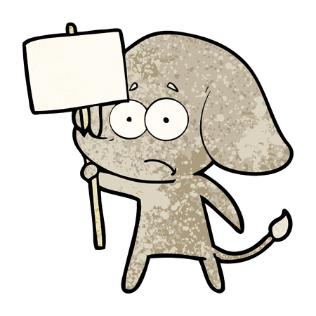 cartoon unsure elephant with protest sign Ilustração