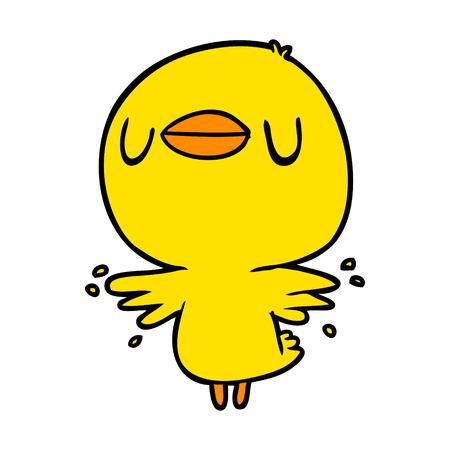 귀여운 만화 병아리 날개가 퍼덕 거리다 일러스트