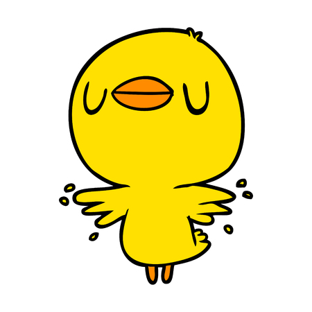 cute cartoon chick flapping wings Vettoriali