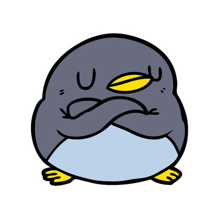 cartoon penguin with crossed arms
