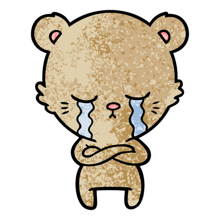 crying cartoon bear with folded arms Illustration