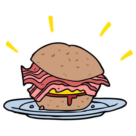 cartoon ongelooflijk lekker spek ontbijt broodje met kaas Stock Illustratie