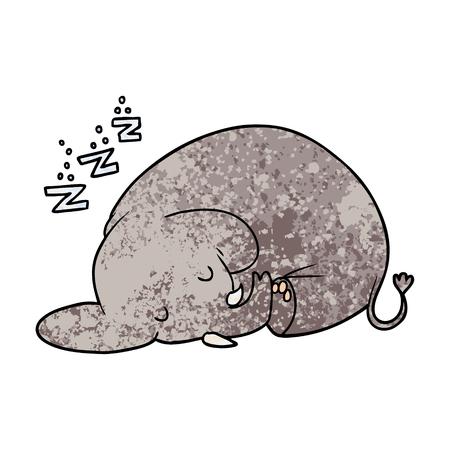 cartoon sleeping elephant 向量圖像
