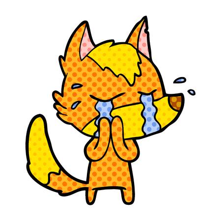 sad little fox cartoon character