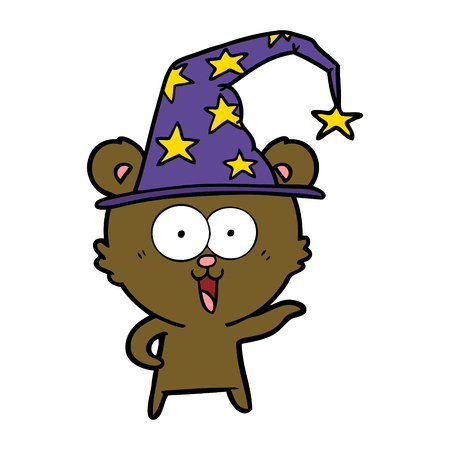 laughing wizard teddy  bear cartoon Çizim