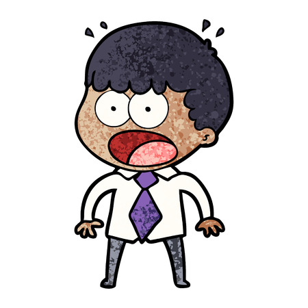 cartoon shocked man in shirt and tie Ilustração