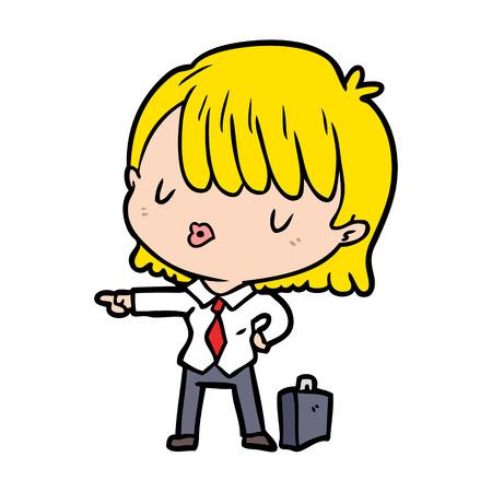 cartoon efficient businesswoman giving orders Illustration