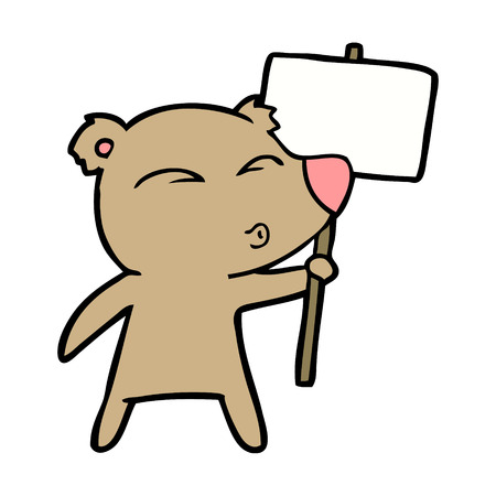 bear cartoon chraracter with protest sign Banco de Imagens - 94695046