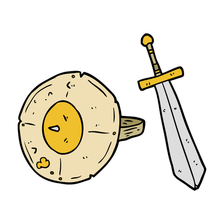 cartoon old gladiator shield and sword