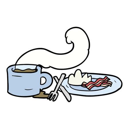 コーヒーとベーコンの漫画の朝食  イラスト・ベクター素材