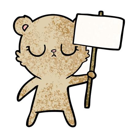 抗議の看板を持つ平和な漫画クマのカブ