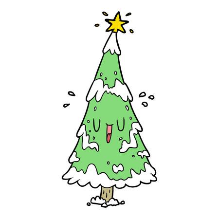 행복 한 얼굴을 가진 만화 눈 덮인 크리스마스 트리