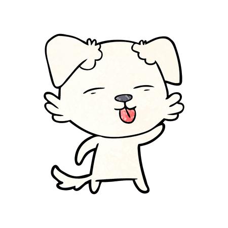 舌を突き出す漫画の犬  イラスト・ベクター素材