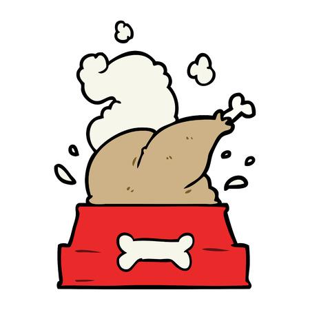 cartoon hele gekookte kalkoen gepropt in een hondenkom voor een gelukkig kerstjong Stock Illustratie