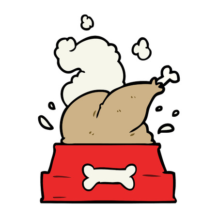 cartoon whole cooked turkey crammed into a dog bowl for a happy Christmas pup Vectores