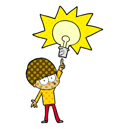 nervous cartoon boy with idea Illustration