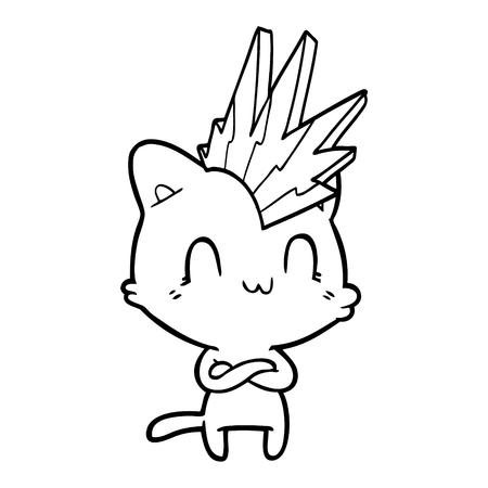 만화 행복한 고양이 펑크 스톡 콘텐츠 - 94642123
