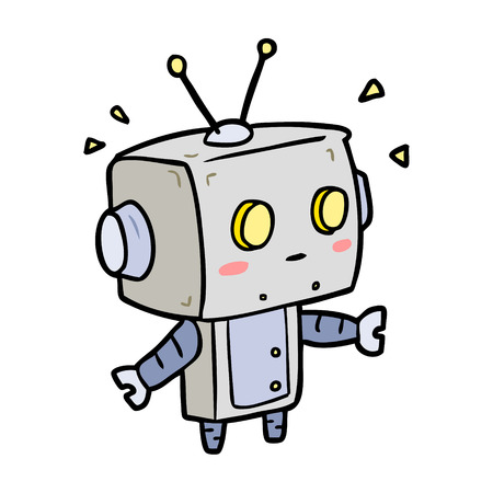 cute cartoon surprised robot