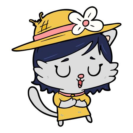 cartoon cat wearing summer hat
