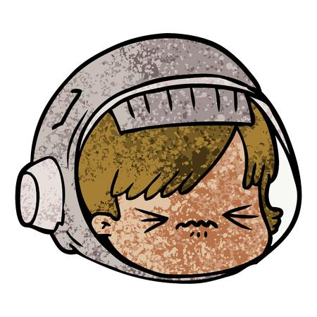 cartoon benadrukt astronautengezicht