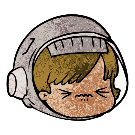cartoon stressed astronaut face Illustration