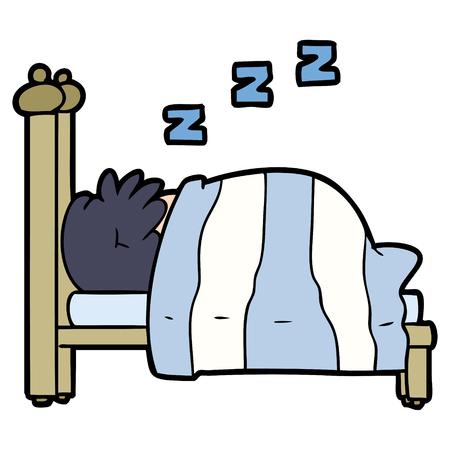 Cartoon snoring person Ilustração