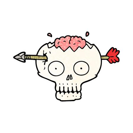 cartoon skull with arrow through brain