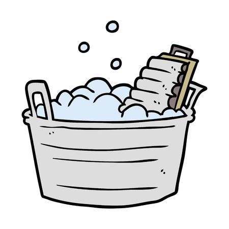 cartoon old laundry washboard and bucket