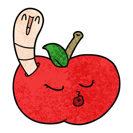 cartoon worm in apple Иллюстрация