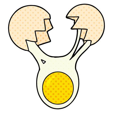 cracked egg cartoon Illustration