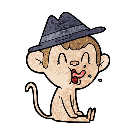 crazy cartoon monkey sitting Stock Vector - 94682468