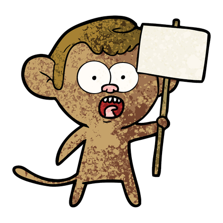 cartoon shocked monkey Illustration