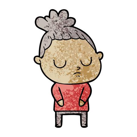 Cartoon calm woman