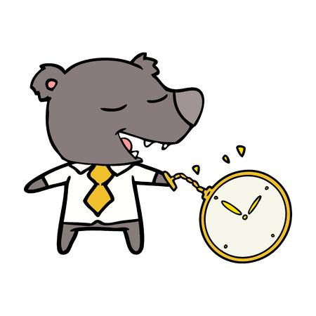 Cartoon bear wearing shirt and tie holding watch