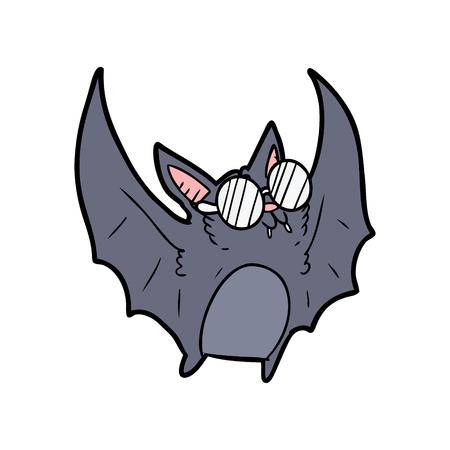Cartoon vampire bat wearing spectacles 向量圖像