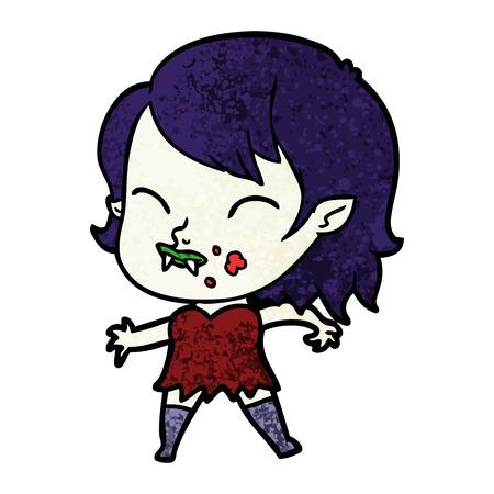 뺨에 혈액과 만화 뱀파이어 소녀 일러스트