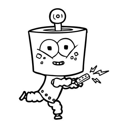 happy cartoon robot met afstandsbediening