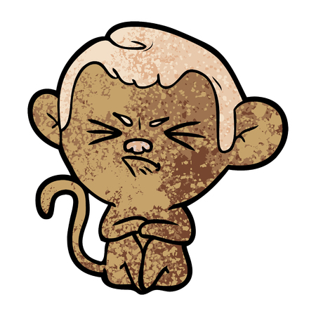 cartoon annoyed monkey Ilustração