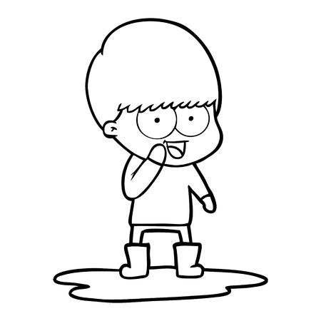 水たまりに飛び散る幸せな漫画の少年