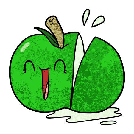 幸せな漫画スライスリンゴ  イラスト・ベクター素材
