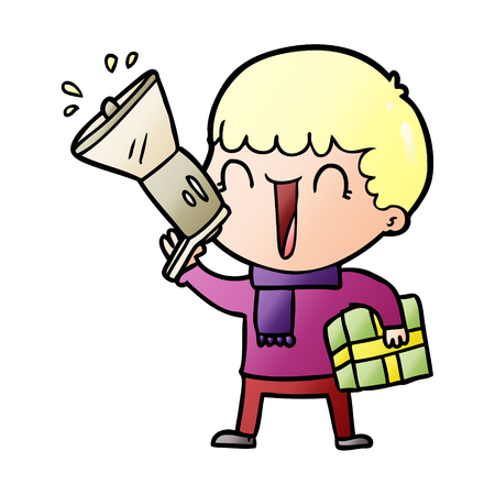 megaphone cartoon man with present Illustration