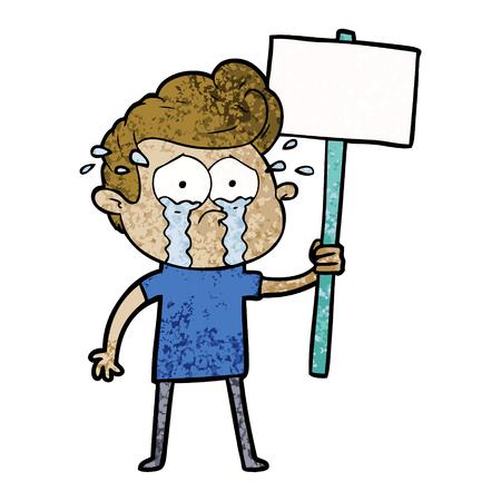 Cartoon  crying protester Stock Vector - 94814513