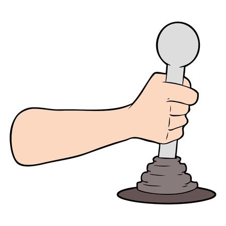 Cartoon hand pulling lever Stockfoto - 94814632