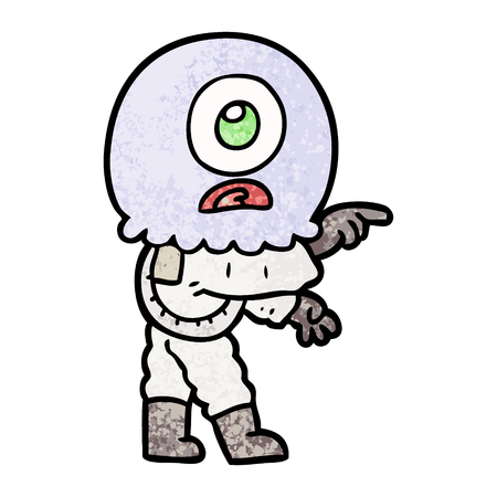 cartoon cyclops alien spaceman pointing