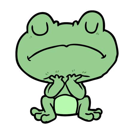 辛抱強く待っている漫画のカエル