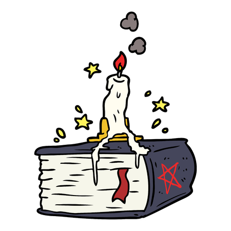 cartoon spooky spellbook with dribbling candle 向量圖像