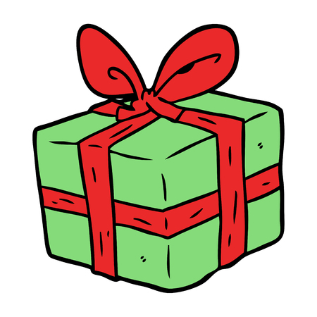 cartoon wrapped gift